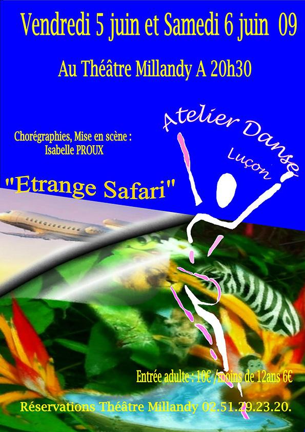 Affiche spectacle danse étrange safari