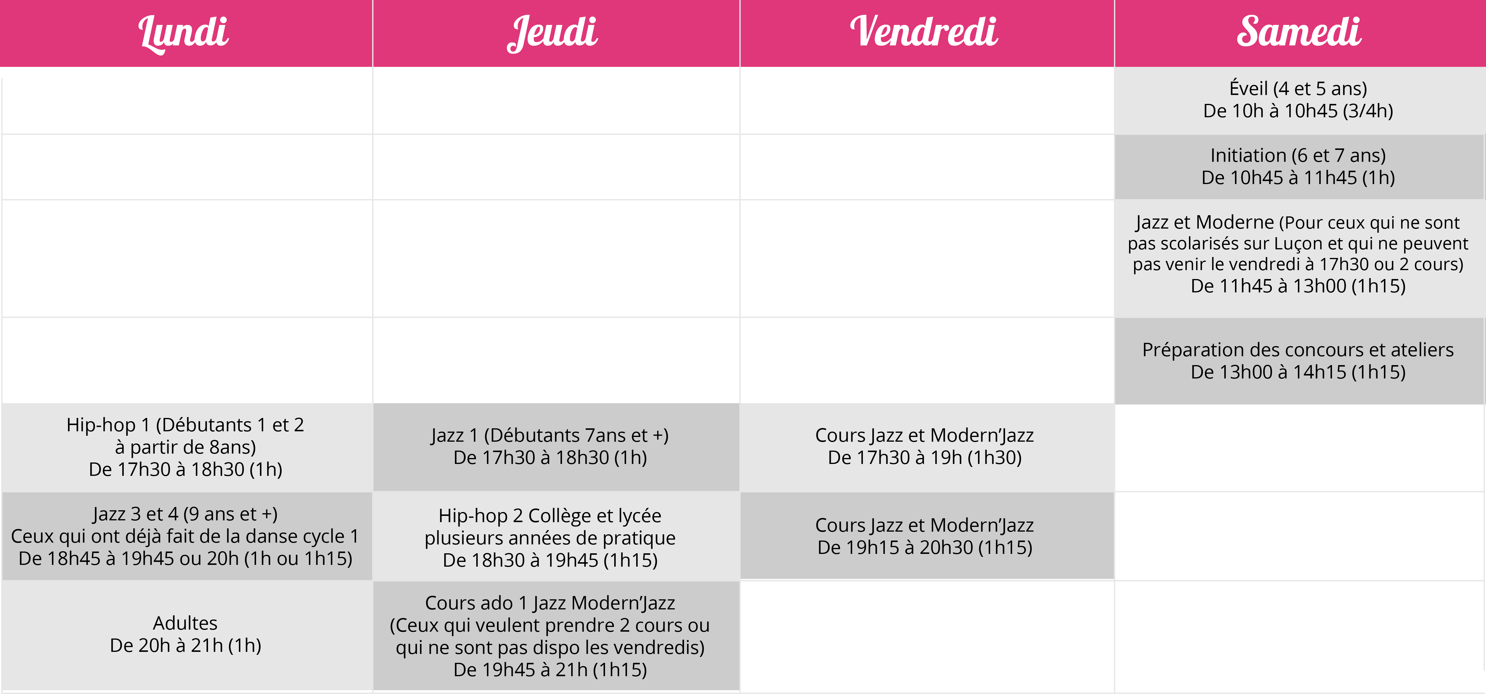 Planning cours 2019 2020